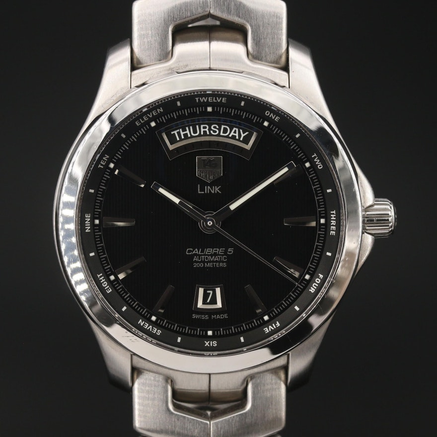 TAG Heuer Link Calibre 5 Day-Date Stainless Steel Automatic Wristwatch