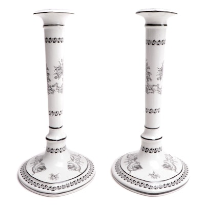 Mottahedeh Directoire Style Ceramic Candlesticks