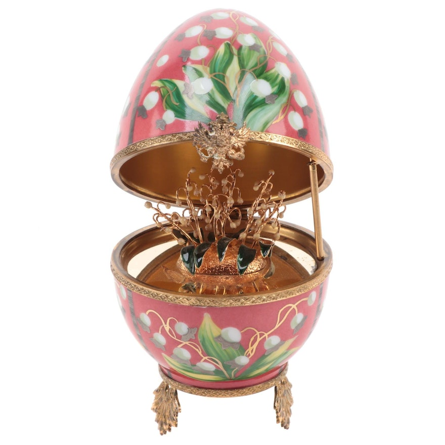 """Fabergé """"Lilies of the Valley"""" Limited Edition Limoges Egg Box"""