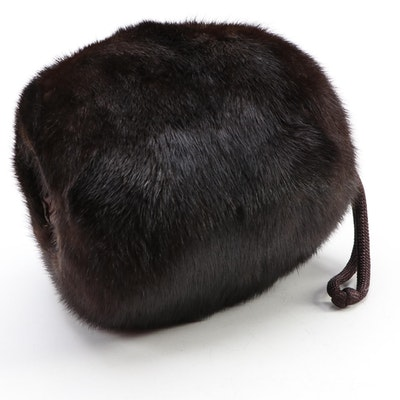 Dark Brown Mink Fur Muff and Higbee's Department Store Hat Box