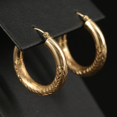 14K Engraved Tubular Hoop Earrings