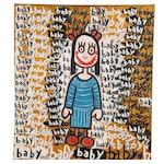 "Mark Bercier Folk Art Oil Painting ""Baby"""