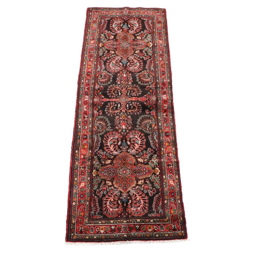 3'5 x 10'9 Hand-Knotted Persian Sarouk Wool Carpet Runner