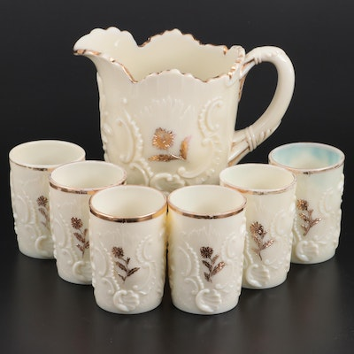 "Northwood ""Louis XV"" Custard Glass Pitcher and Tumblers"