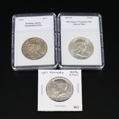 Three Vintage U.S. Silver Half Dollars
