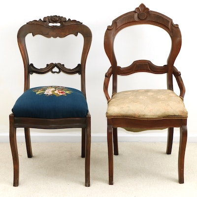 Victorian Style Carved Walnut Side Chairs, 20th Century