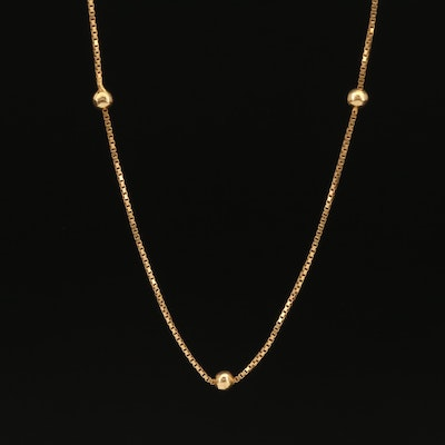 18K Box Chain Station Necklace