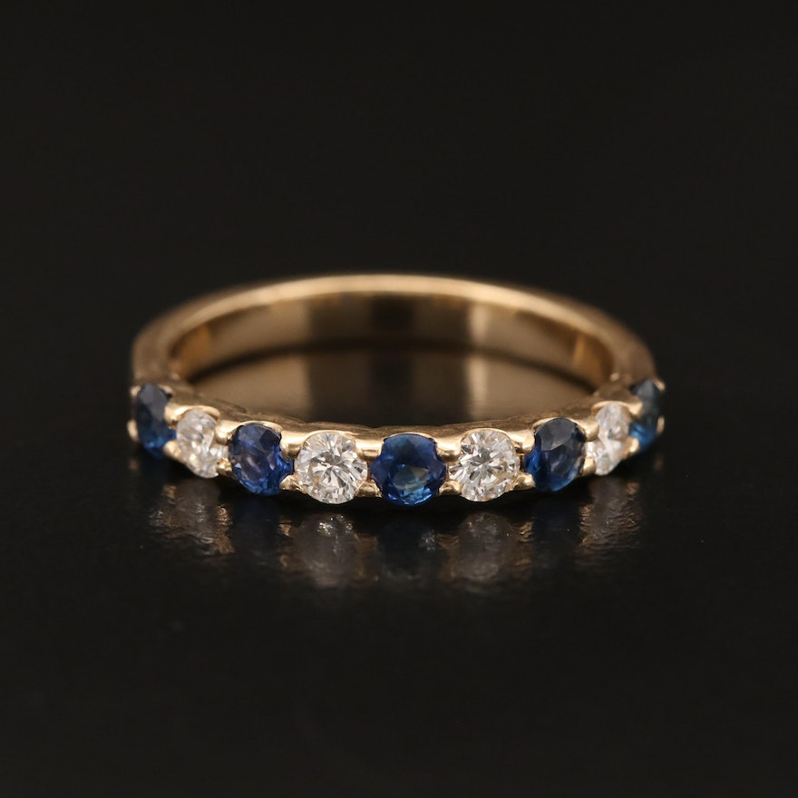 14K Diamond and Sapphire Band