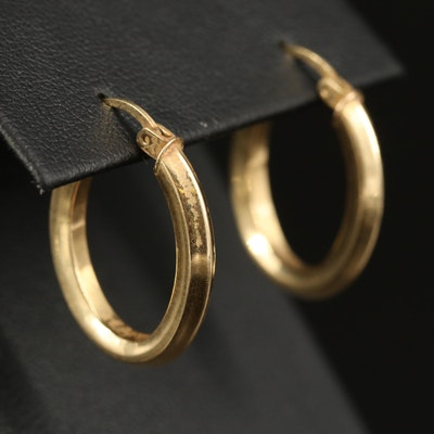 14K Elongated Hoop Earrings