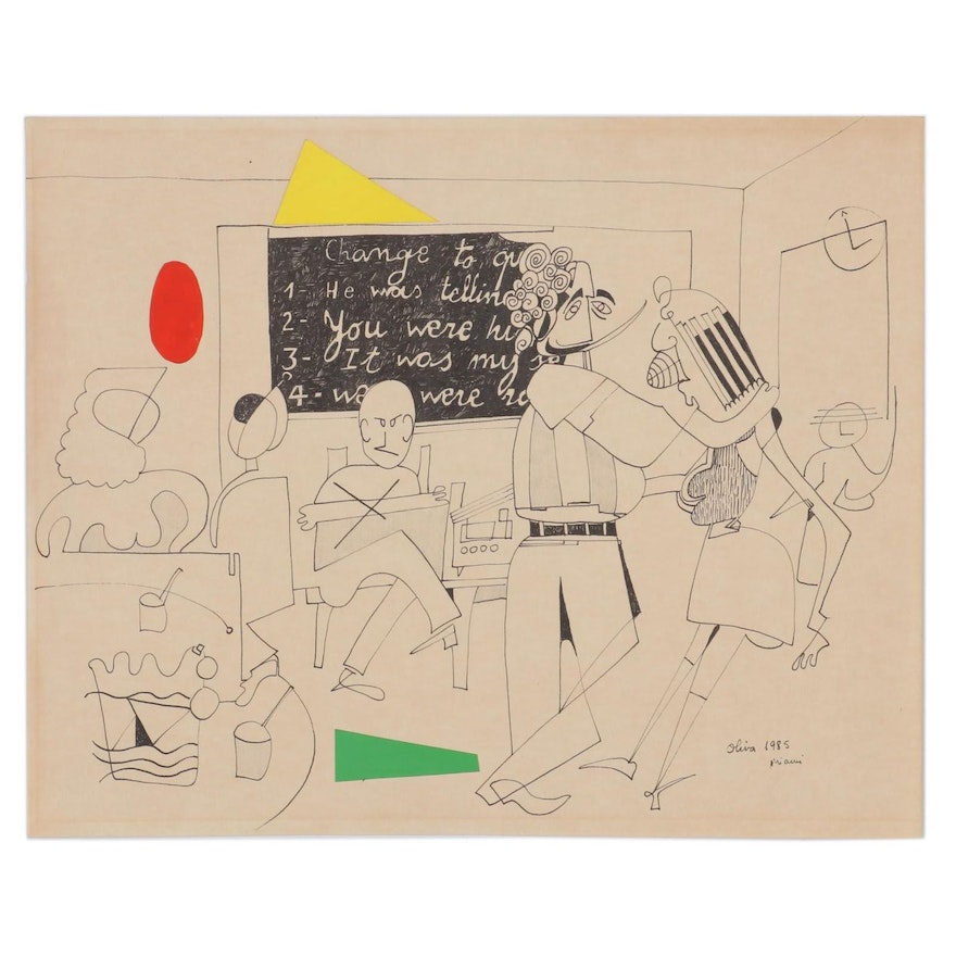 Eduardo Oliva Figural Ink Drawing with Paper Collage, 1985