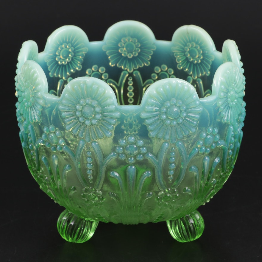 """Northwood Glass Green Opalescent """"Pearl Flowers"""" Candy Bowl, Early-Mid 20th C."""