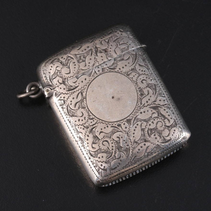 Minshull & Latimer of Birmingham Sterling Silver Match Case, Late 19th Century