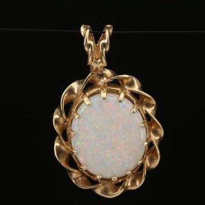 14K Opal Pendant with Ribboned Edge