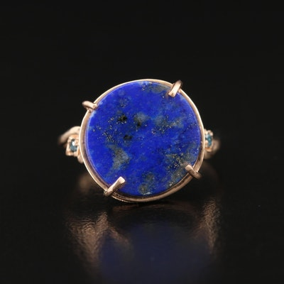 14K Lapis Lazuli Ring with Diamond Accented Shoulders