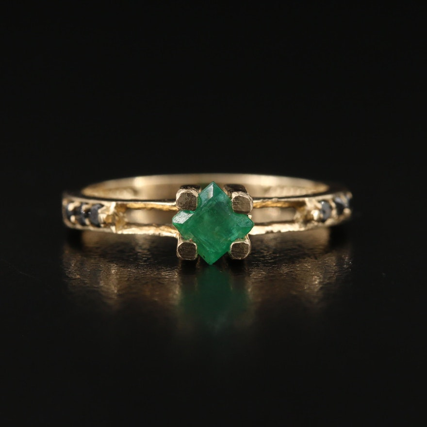 14K Emerald and Black Diamond Ring