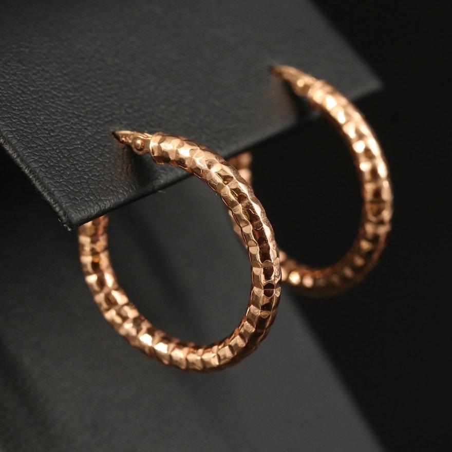 14K Rose Gold Textured Tubular Hoop Earrings