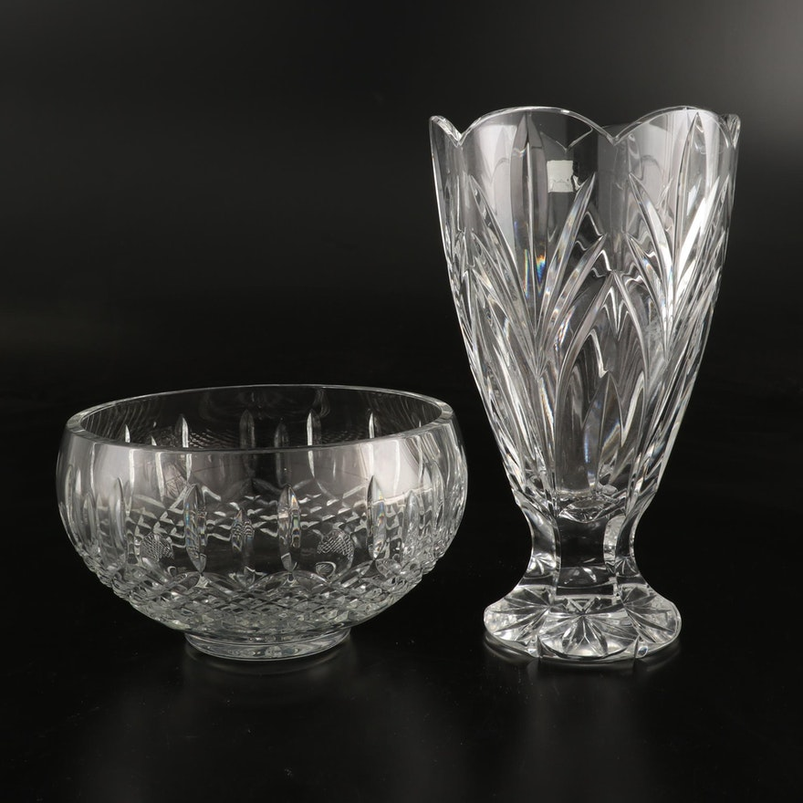"Waterford ""Nocturne"" and ""Marquis"" Crystal Vase and Bowl"