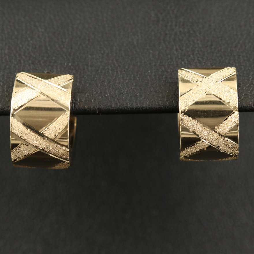 "14K Textured ""X"" Huggie Earrings"