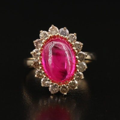14K Ruby Ring with Diamond Halo
