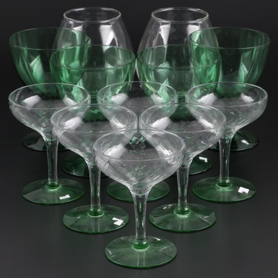 Napco and Other Green and Clear Glass Stemware, Mid to Late 20th C.