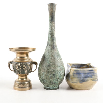 Patinated Metal Bud Vase, Chased Brass Urn, and Hand Thrown Ceramic Bowl