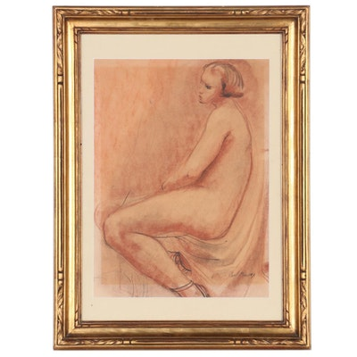 Paul Maze Figural Pastel and Charcoal Drawing, Mid-20th Century