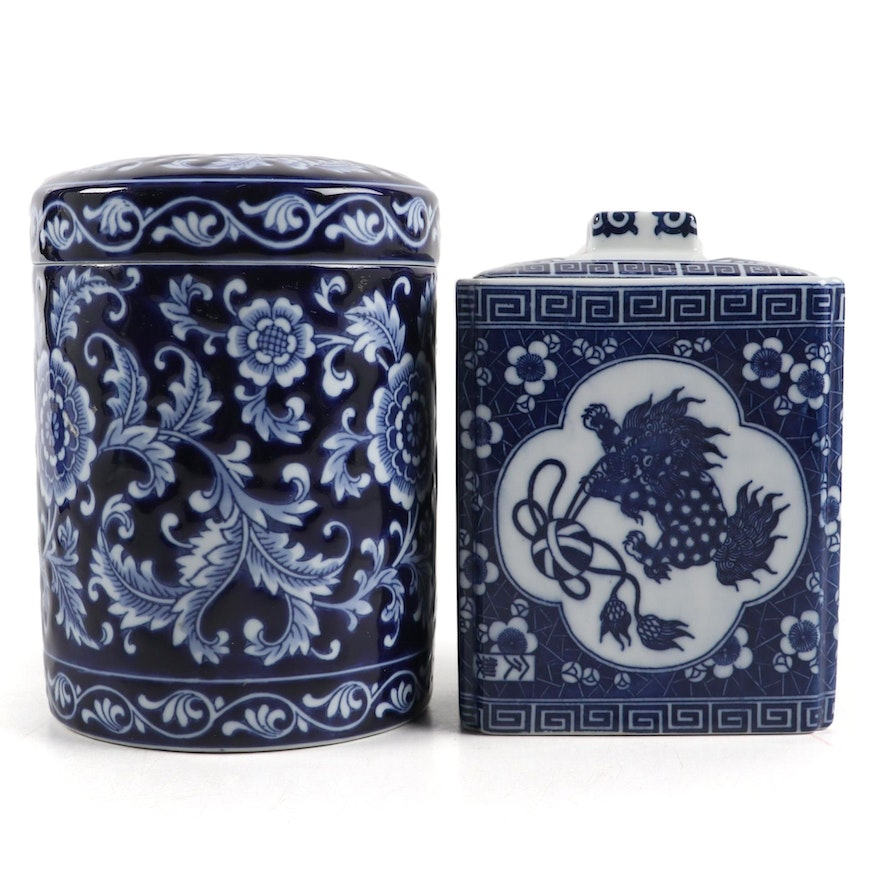 Chinese Blue and White Covered Jars, Late 20th Century