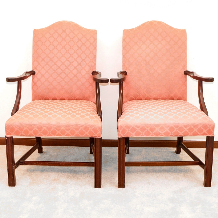 Hickory Chair Company Chippendale Style Upholstered Armchairs