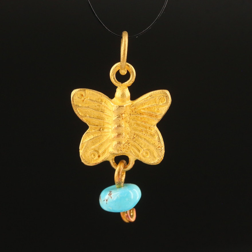 18K Butterfly Pendant with Turquoise Drop