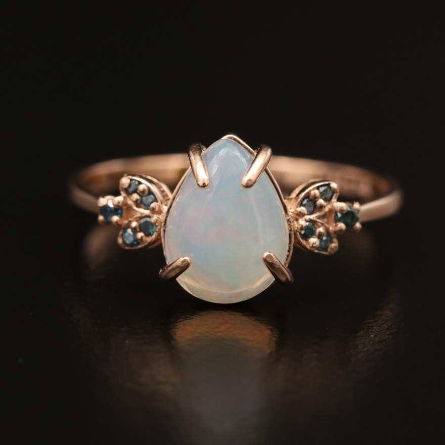 14K Opal and Blue Diamond Ring