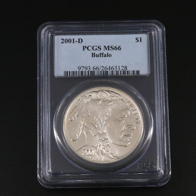 PCGS Graded MS66 2001-D American Buffalo Commemorative Silver Dollar