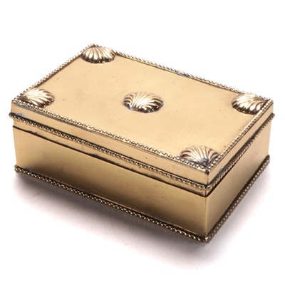Mottahedeh Brass Box with Scallop Shell Corner Accents