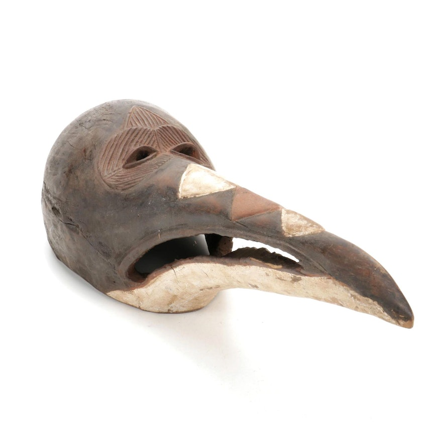West African Style Carved Wood Bird Mask