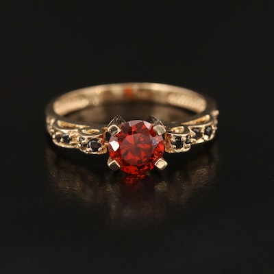 14K Garnet and Black Diamond Ring