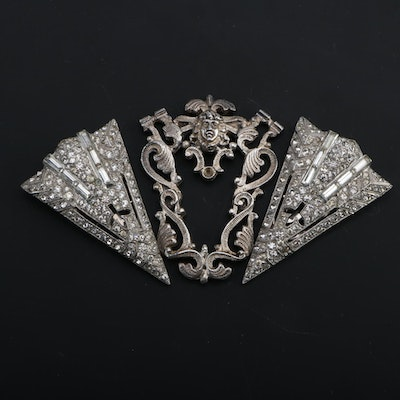 Art Deco Rhinestone Embellished Silver Tone Dress Clips