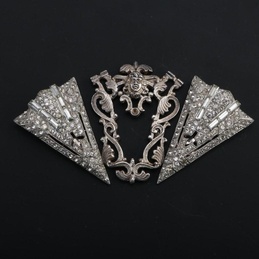 Art Deco Rhinestone Embellished Silver Tone Dress Clips