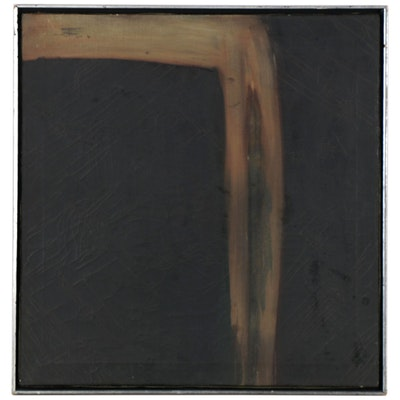 Atmospheric Abstraction Oil Painting, Mid-20th Century