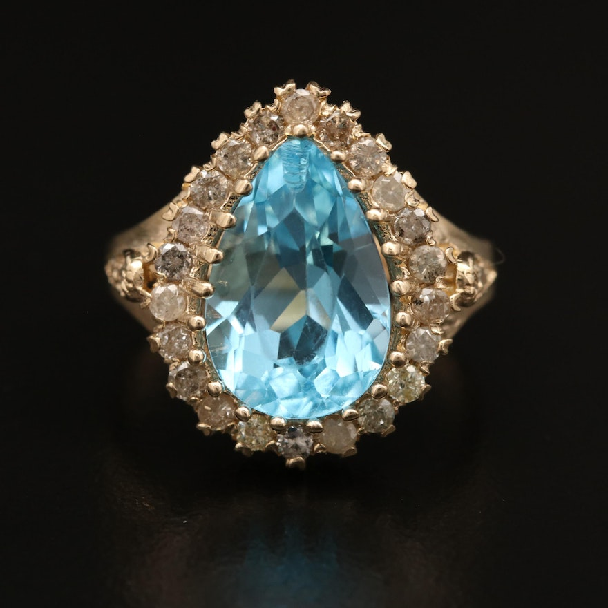 14K Topaz and Diamond Ring