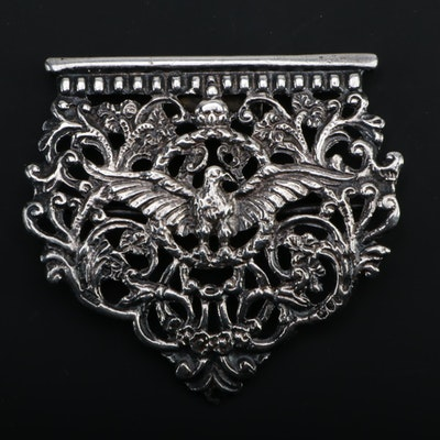 William Francis Garrud Sterling Silver Partial Belt Buckle, Late 19th Century
