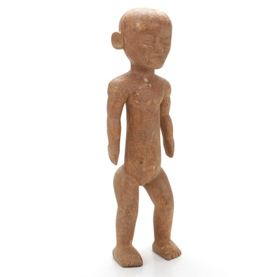 Chamba Inspired Hand-Carved Wood Figure, West Africa