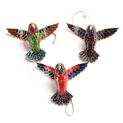 Chinese Cloisonné Hummingbird Ornaments