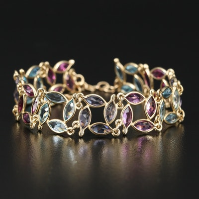 14K Topaz, Rhodolite Garnet and Iolite Fancy Link Bracelet