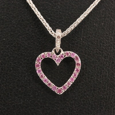 18K Pink Sapphire and Diamond Heart Pendant Necklace