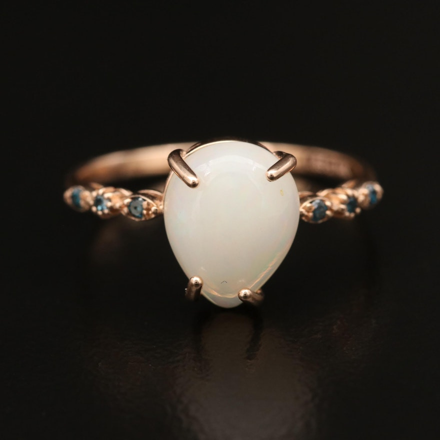 14K Opal and Diamond Band