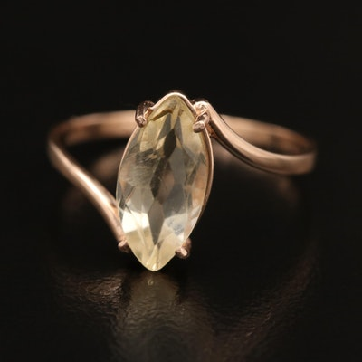 14K Citrine Bypass Ring