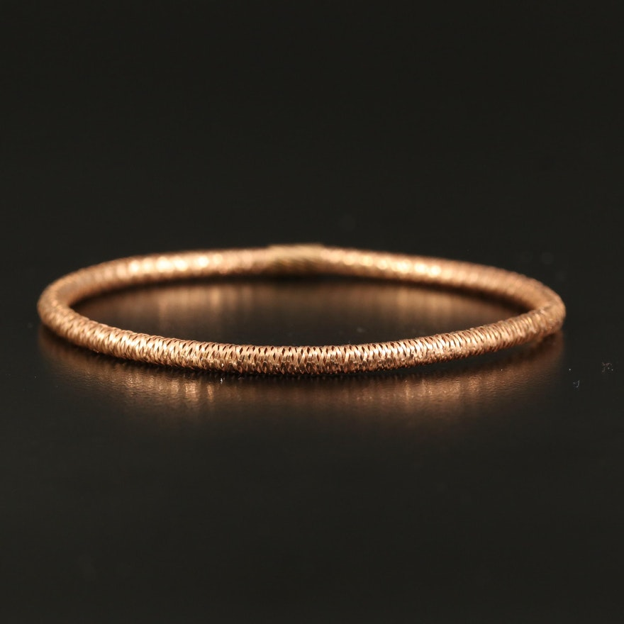 14K Rose Gold Woven Mesh Expandable Bangle