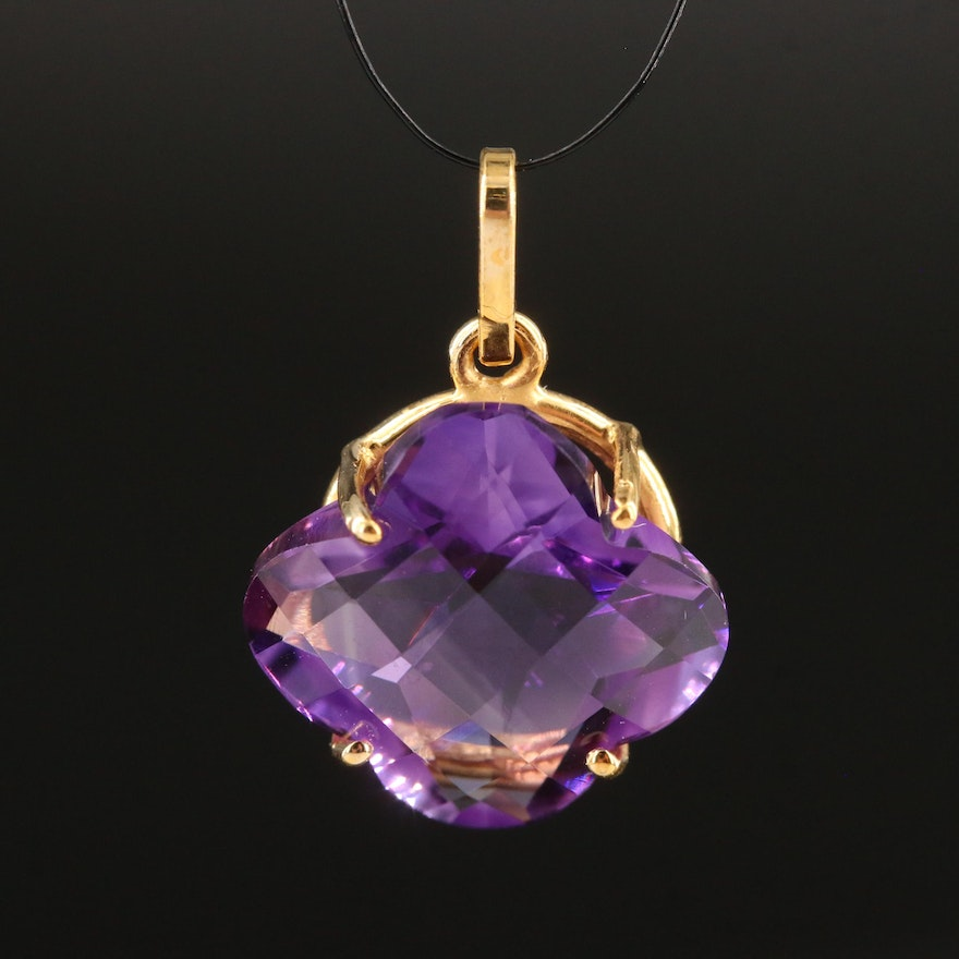 14K Amethyst Flower Pendant with GIA Report
