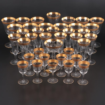 Gilt Rimmed Glass Stemware, Mid to Late 20th Century