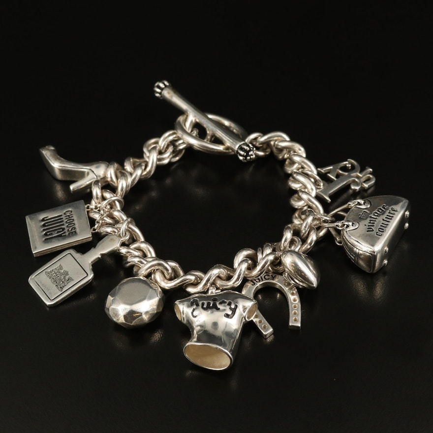 Juicy Couture Sterling Silver Charm Bracelet with High Heel and Horseshoe Charms