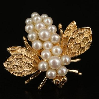 14K Pearl Bee Converter Brooch